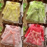 Baby Girls' Cotton & Lace Dress w/ Flower & Bow