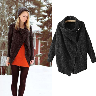 Women's Knitted Cardigan Sweater w/ Long Sleeve Casual Style Black