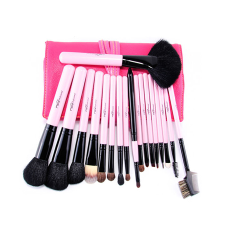 MSQ 18pcs Natural Hair Cosmetic Brush Set