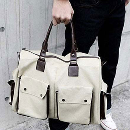 Men's Casual Canvas Handbag w/ Zipper White