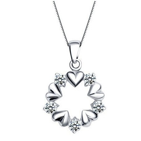 Wreath Crystal Necklace Love Zircon Pendant Free Shipping