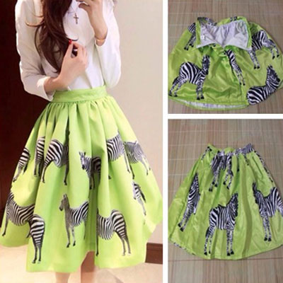 Women's Casual Zebra Printed High-Waist Midi Skirt