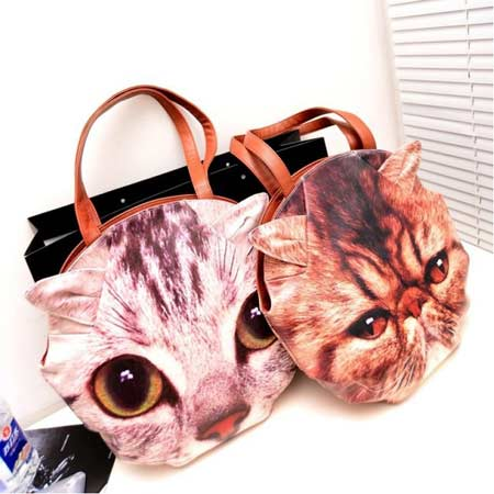 Women New Fashion Animal Cat Print Messenger Bags, Vintage Shoulder Bags, Ladies Handbag 7589