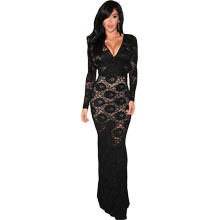 Black Lace Long-sleeve Evening Dress Online Shopping India Clothes