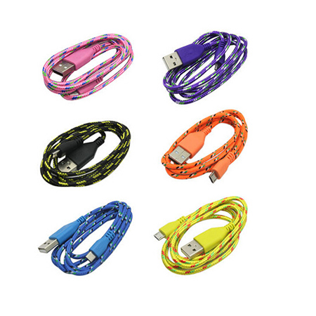 1000PCS/LOT High Quality Mobile Colorful Micro Braided USB Cable