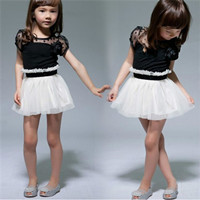 Fashion Kids Dress White and Black Dress