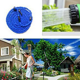 100Ft Hose Expandable Flexible Water Garden Pipe Blue Water Valve Spray Gun w/ EU Or Us Connector Seen On TV