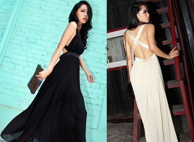 Women's Chiffon Long Dress w/ Sleeveless & Backless