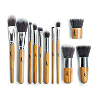 MSQ 11pcs Traveling Bamboo Cosmetic Brushes