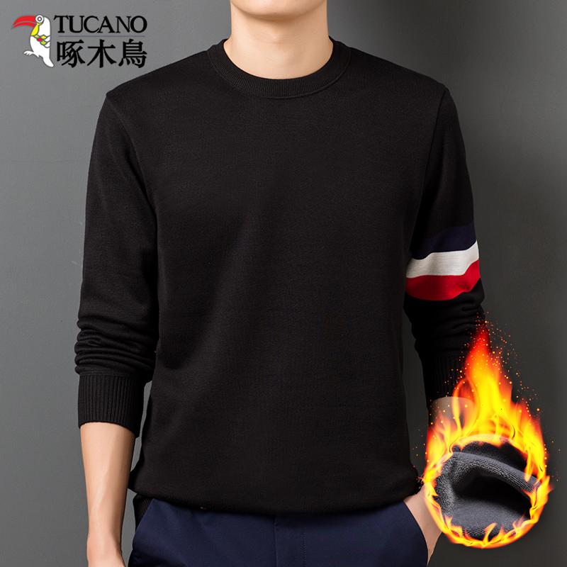 啄木鸟卫衣男加厚加绒圆领长袖T恤秋冬款男士针织衫保暖潮流上衣