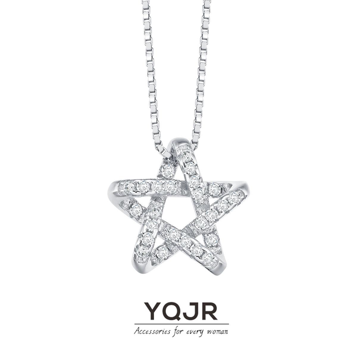 钰沁珠宝小众设计感星星项链女925纯银镀18k玫瑰金六芒星锁骨链